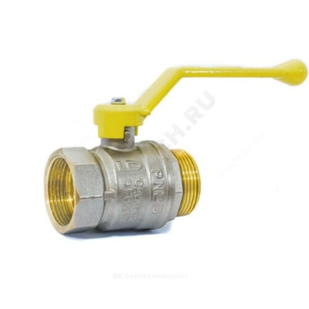 Кран шаровой латунь никель газ Pride Ду 50 Ру25 ВР/НР полнопроходной рычаг  11б27п LD 47.50.В-Н.Р .