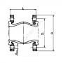 Компенсатор резиновый антивибрационный EPDM DI7240N Ду 100 Ру10/16 фланцевый L=135мм Tecofi DI7240N-0100 сжатие/растяжение 19/10