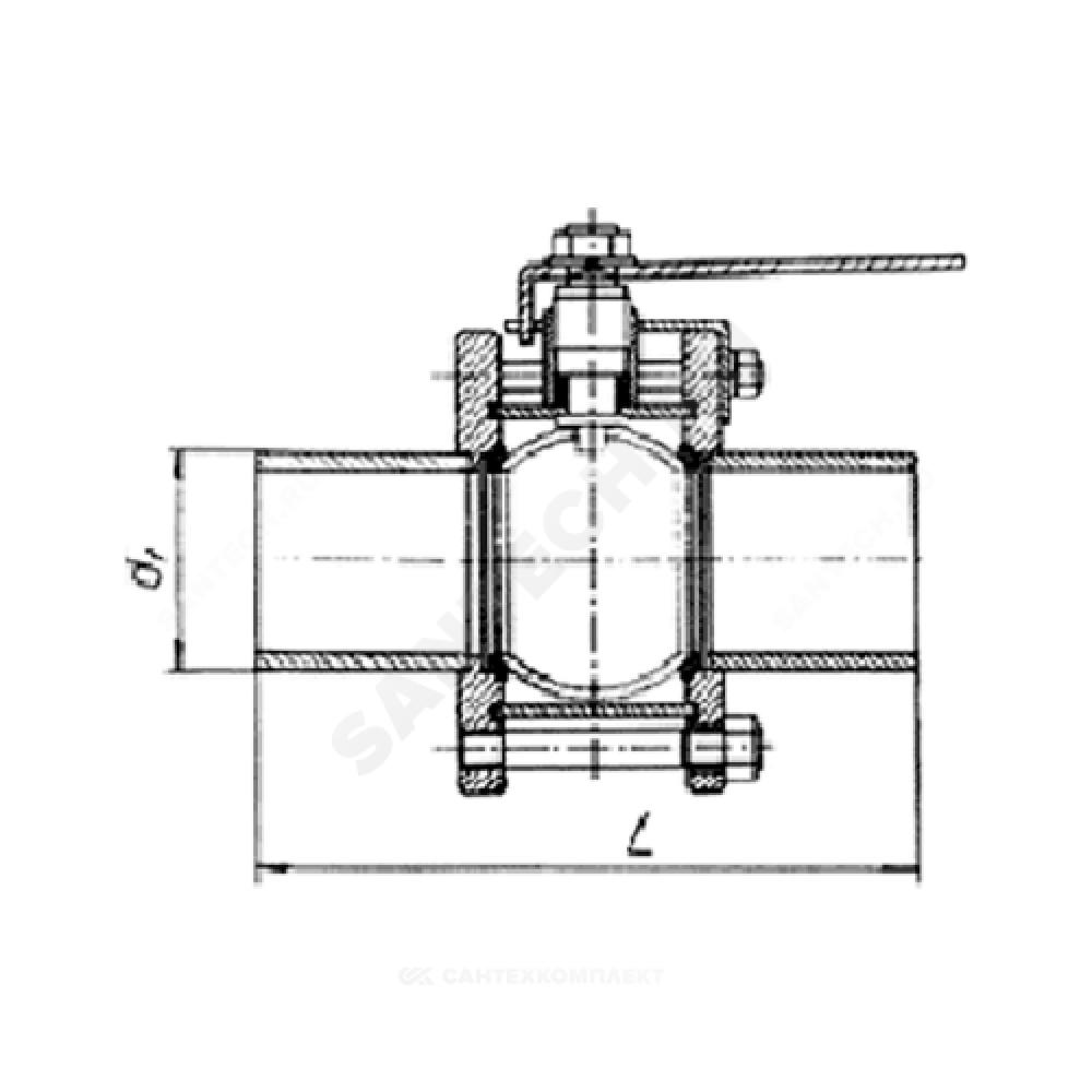 Кран шаровой стальной 11с67п Ду 25 Ру16 под приварку полнопроходной Маршал СП.00.1.016.025