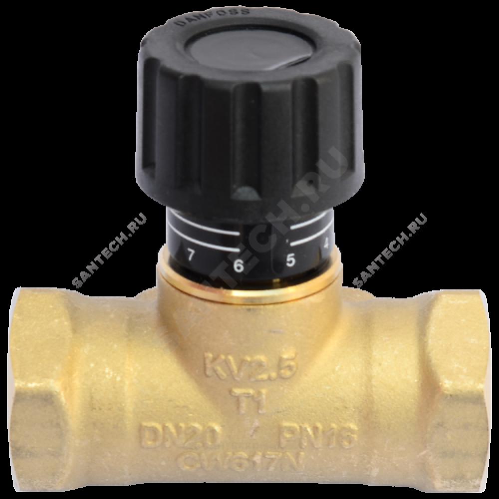Клапан балансировочный ручной латунь USV-S Ду 20 Ру16 ВР Kvs=2.5м3/ч б/ниппелей Danfoss 003Z2232