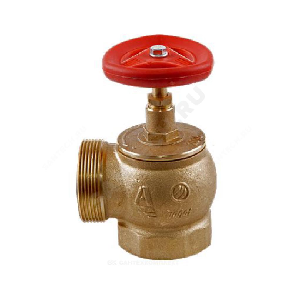Клапан пожарный латунный  угловой 90 гр КПЛМ 50-1 Ду 50 1,6 МПа муфта-цапка Апогей 111010