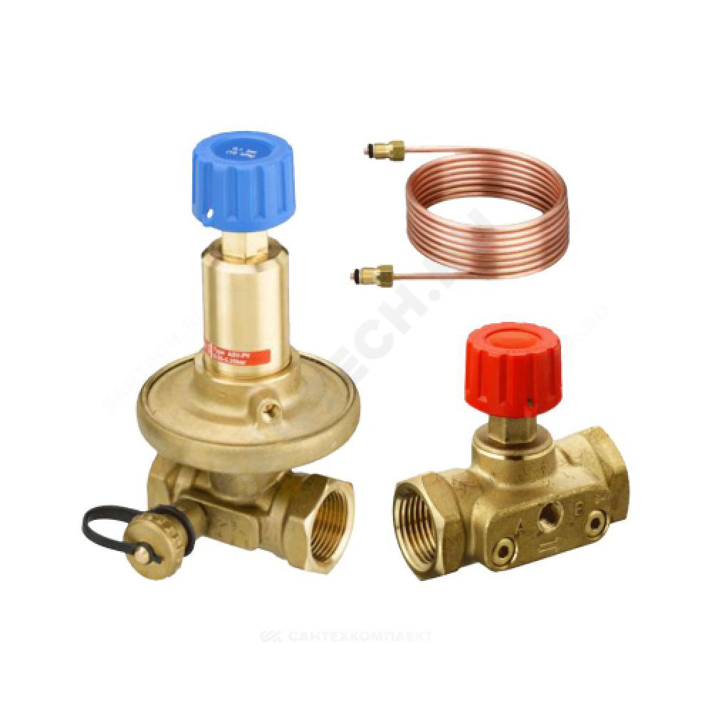 Комплект клапанов балансировочных автомат латунь APT+CDT (ASV-PV+ASV-M) Ду 32 Ру16 ВР Kvs=6.3м3/ч б/ниппелей Danfoss 003Z5664