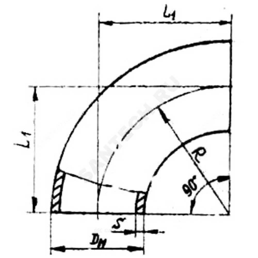 Отвод стальной бесшовный крутоизогнутый 90гр Дн 45х3,0 (Ду 40) под приварку ГОСТ 17375-2001