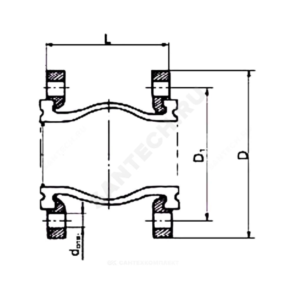 Компенсатор резиновый антивибрационный EPDM DI7240N Ду 250 Ру10 фланцевый L=240мм Tecofi DI7240N-0250 сжатие/растяжение 25/16