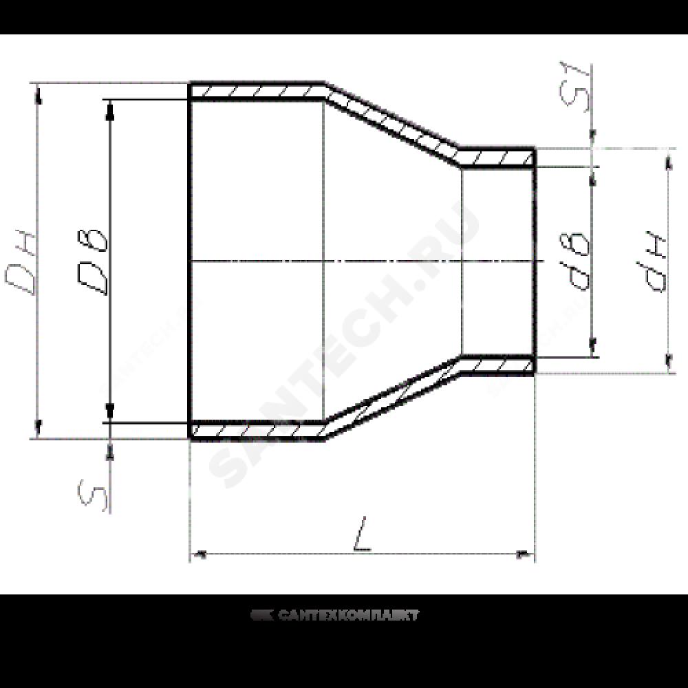 Переход стальной концентрический Дн 114х4,0-76х3,5 (Ду 100х65) бесшовный ГОСТ 17378-2001
