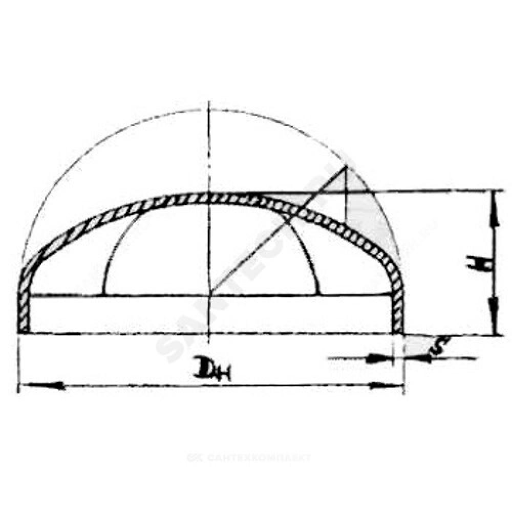 Заглушка стальная  эллиптическая Дн 45х2,5 (Ду 40) под приварку ГОСТ 17379-2001 РБ