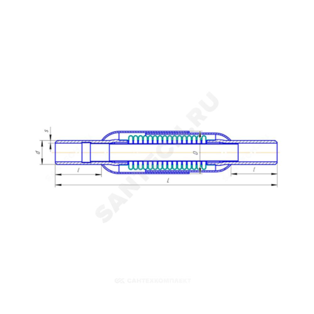 Компенсатор сильфонный осевой многослойный с кожухом и внутренним экраном сталь нерж КМШ Ду 15 Ру16 под приварку патрубки сталь L=250мм КМШ 15-16-25 сжатие/растяжение 12,5/12,5