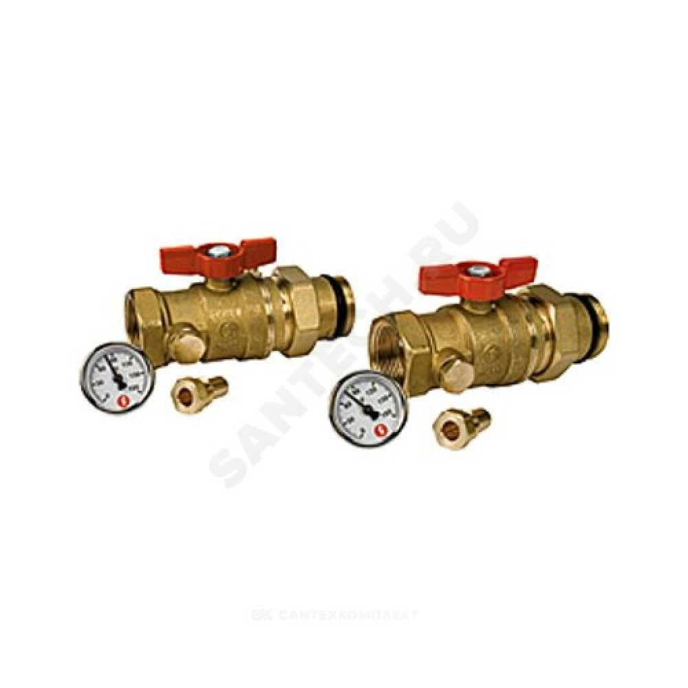 "Комплект кранов 3-ходовой Ду 25 Ру35 ВР G1"" 2 шаровых крана 1""х1"", с отводом и 2 термометра R540Y015 Giacomini R259SY067"