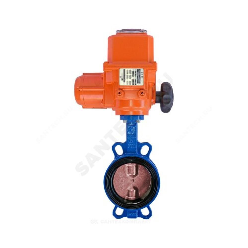 Затвор дисковый поворотный чугунный VPI4448-B04EP Ду 65 Ру16 межфланцевый с эл/приводом диск чугунный манжета EPDM Tecofi VPI4448-B04EP0065
