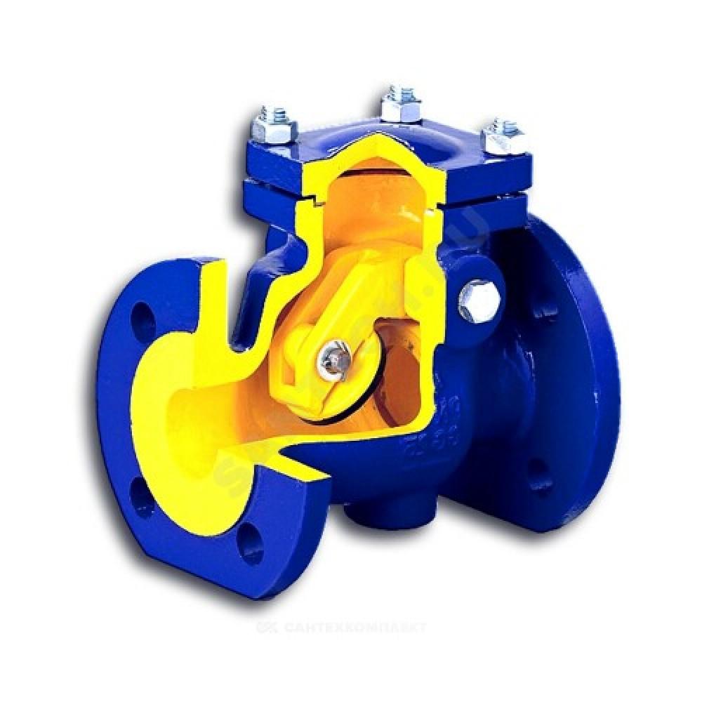 Клапан обратный чугун поворотный 302A Ду 150 Ру16 Тмакс=300 оС фланцевый заслонка нерж Zetkama 302A150C01