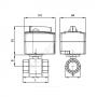 Кран шаровой латунь никель AMZ 112 Ду 25 Ру40 ВР полнопроходной с эл/прив 2/поз 230В с выводом для насоса Danfoss 082G5408