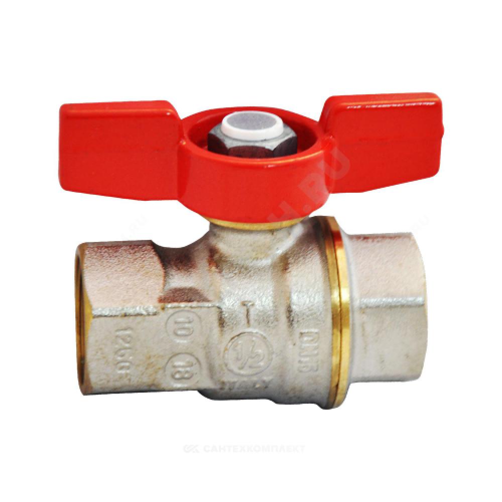 Кран шаровой латунь никель R911 Ду 20 Ру42 ВР полнопроходной бабочка Giacomini R911X024