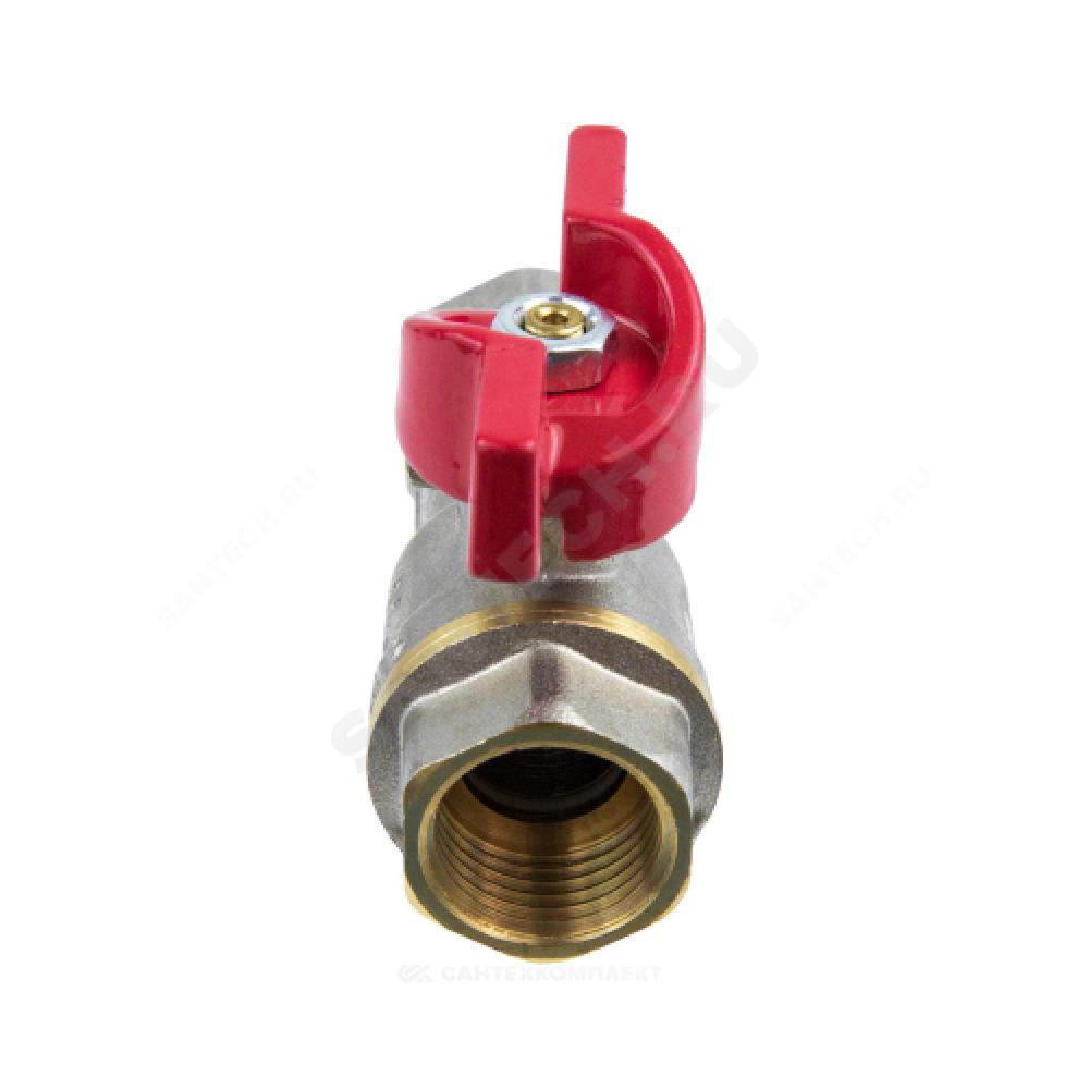Кран-фильтр шаровой латунь никель 1015 Ду 15 Ру40 ВР полнопроходной бабочка с фильтром под пломбу Aquasfera 1015-01
