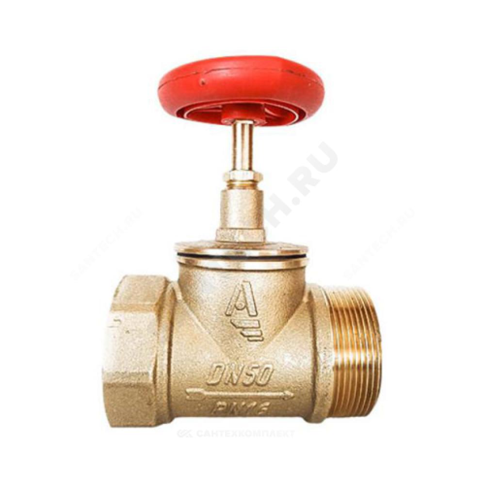 Клапан пожарный латунный  прямой КПЛП 65-1 Ду 65 1,6 МПа муфта-цапка Апогей 110019