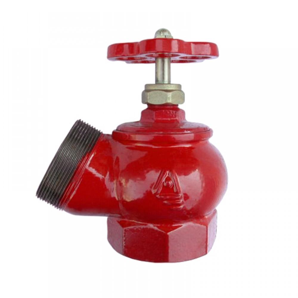 Клапан пожарный чугун угловой 125 гр ПК50 Ду 50 1,6 МПа муфта-цапка Цветлит ZW80001