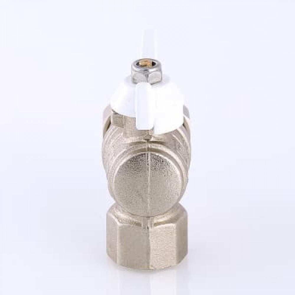 Кран шаровой VALTEC BASE угловой с полусгоном (американкой) и дополнительным уплотнением , бабочка белая 1/2'
