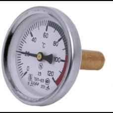 Термометр биметаллический осевой Дк100 L=100мм G1/2' 120C А5002 Wika
