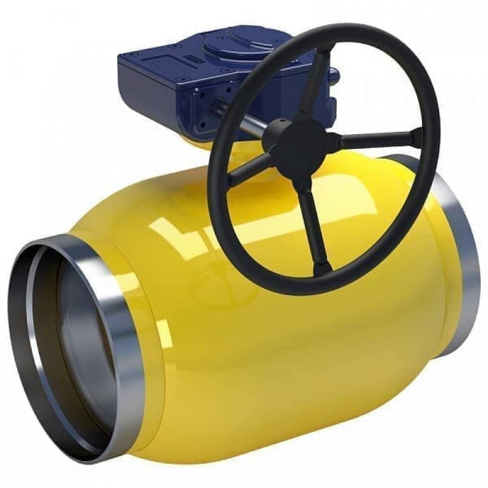 Кран стальной газовый NAVAL сварка-сварка DN150 PN25 с редуктором