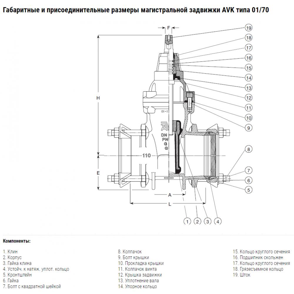 Задвижка AVK клиновая с соединительными муфтами SUPA PLUS DN125/125 PN16