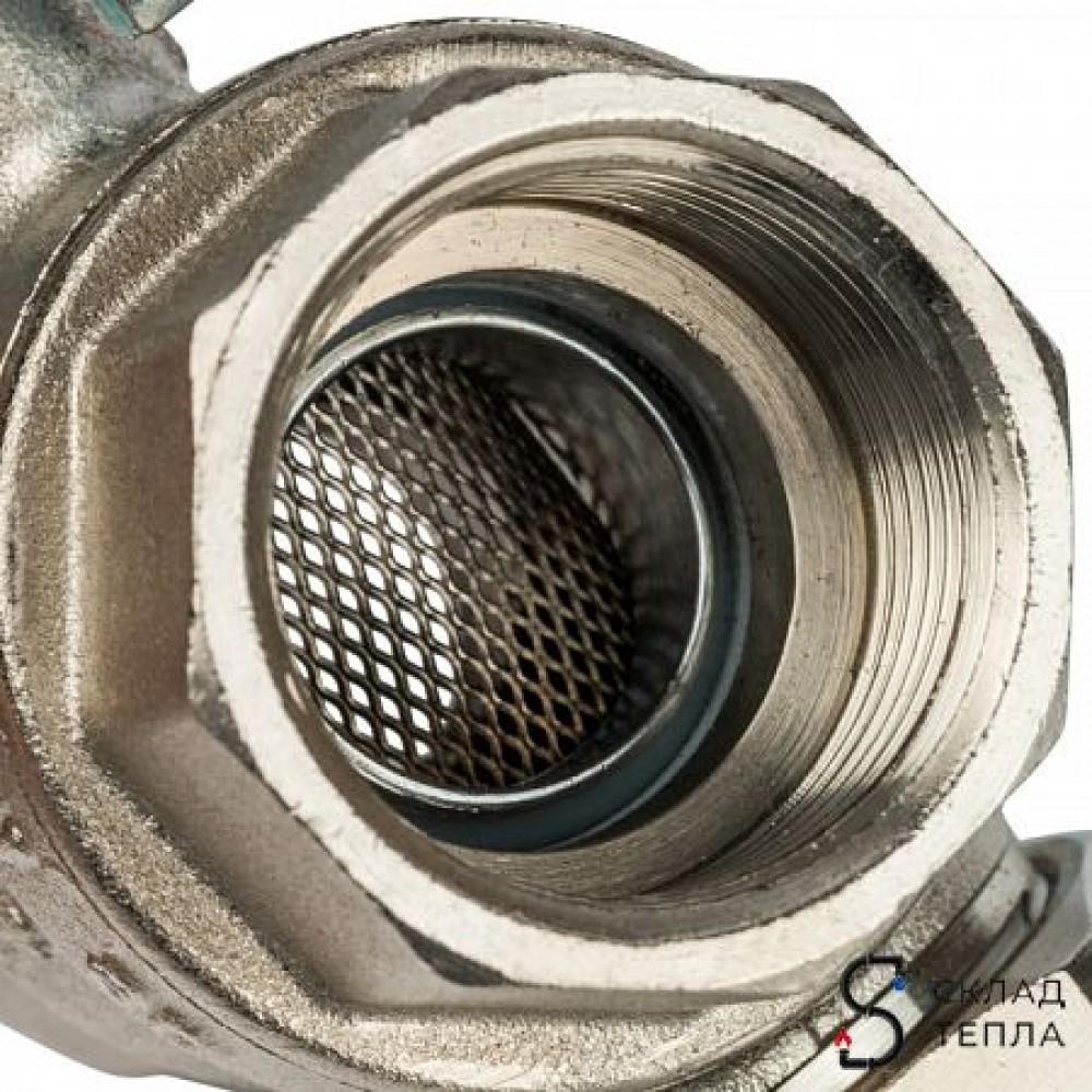 Кран шаровой с фильтром STOUT - 1/2' (ВР/ВР, PN30, Tmax 100°С, сетка 500 мкм, ручка-рычаг черная) SVF 0001 000015
