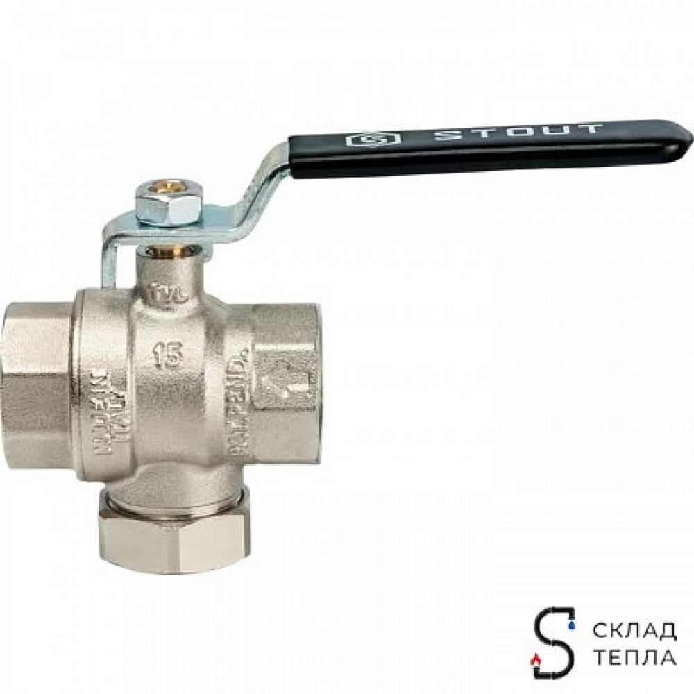Кран шаровой с фильтром STOUT - 1'1/4 (ВР/ВР, PN30, Tmax 100°С, сетка 500 мкм, ручка-рычаг черная) SVF 0001 000032
