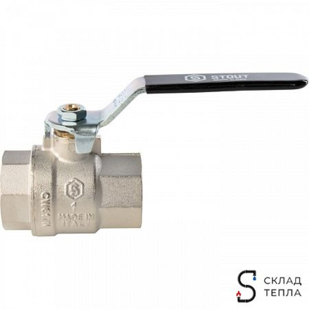 Кран шаровой полнопроходной STOUT - 1/2' (ВР/ВР, PN40, Tmax 150°С, ручка-рычаг черная) SVB-0001-000015