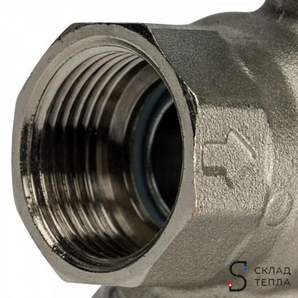 Кран шаровой с фильтром STOUT - 3/4' (ВР/ВР, PN30, Tmax 100°С, сетка 500 мкм, ручка-рычаг черная) SVF 0001 000020