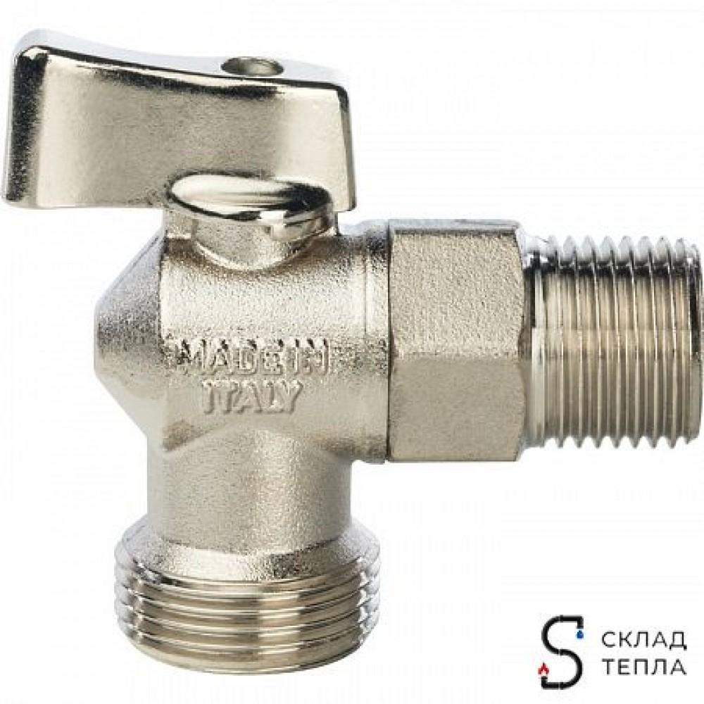 Кран шаровой полнопроходной угловой STOUT - 1/2' x 3/4' (НР/НР, ручка-флажок, для стиральных машин) SVB-0059-001234 (SVB-0023-001520)